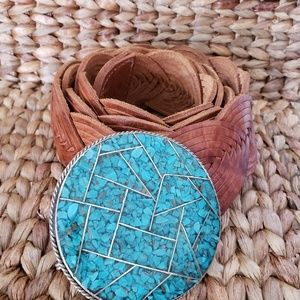 Chicos woven leather teal turquoise belt large